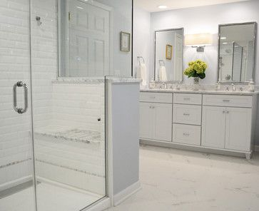 Spa Master Bathroom White Subway Tile Gray Walls Cabinets Marble Countertops