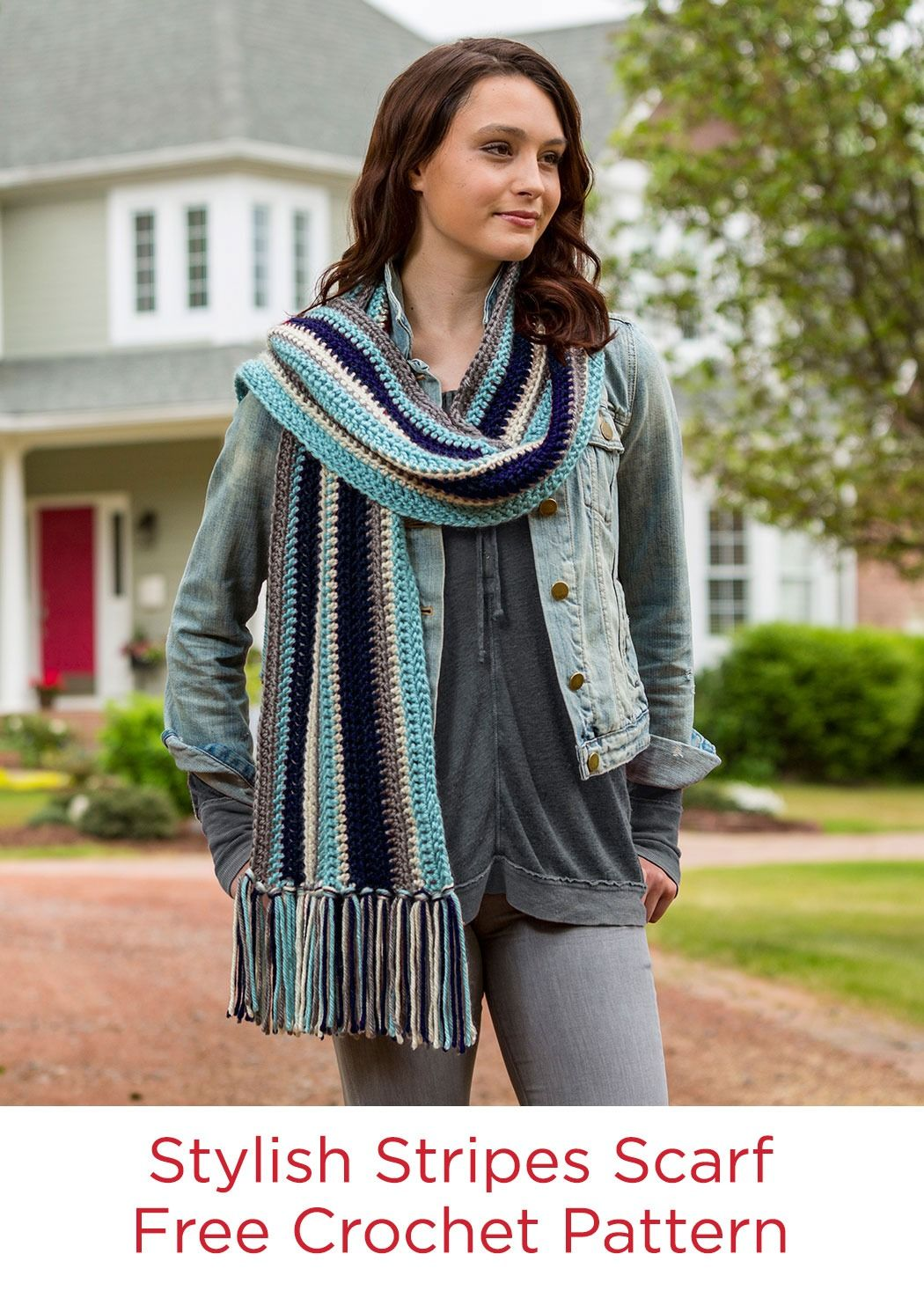 Stylish stripes scarf free crochet pattern in red heart soft stylish stripes scarf free crochet pattern in red heart soft essentials yarn available at michaels bankloansurffo Image collections