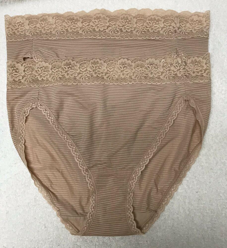 b790f16ec02b 2 Vanity Fair Hi-Cut panties 7/L FLATTERING LACE 13280 stretch microfiber |  eBay