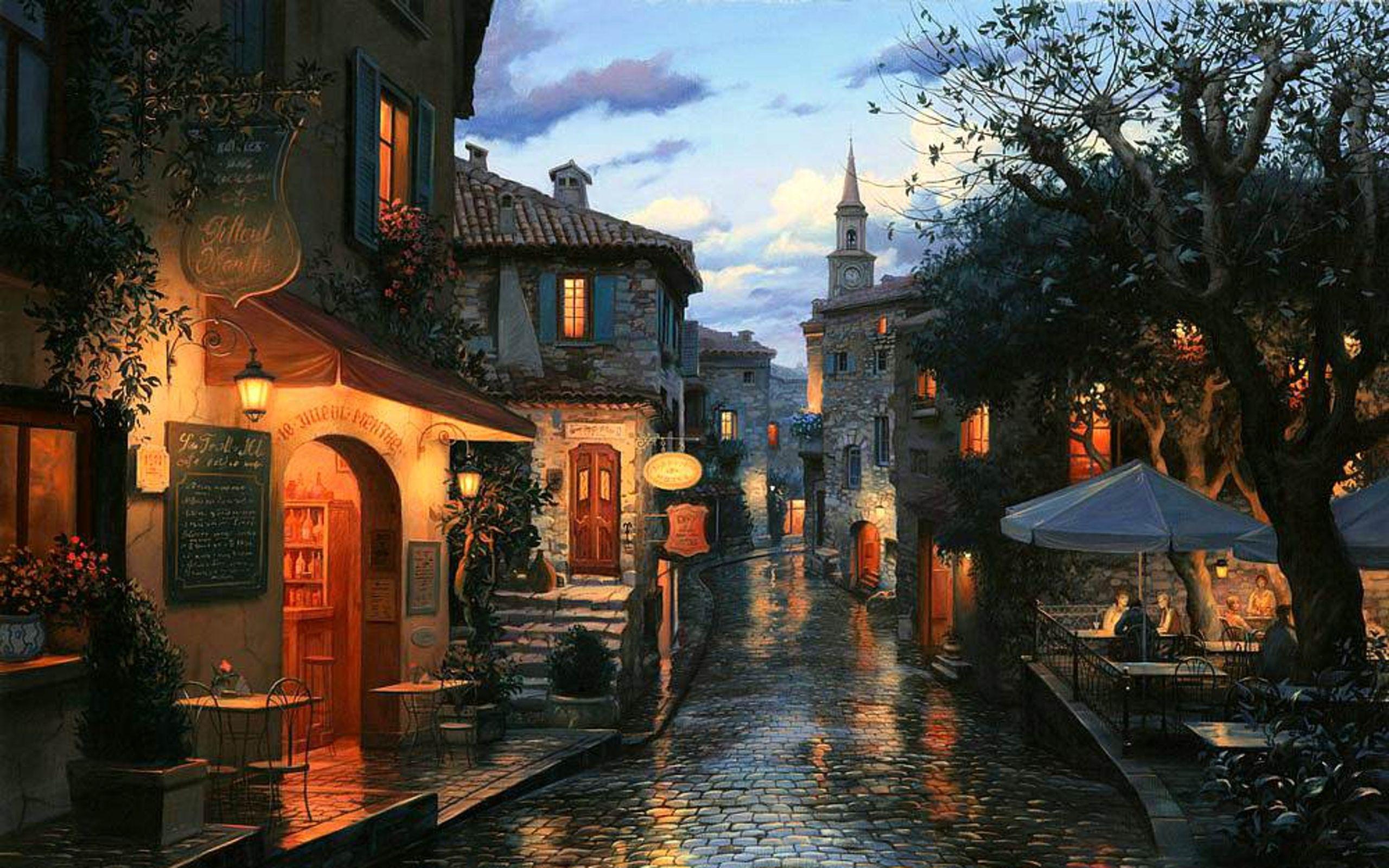 Обои eugeny lushpin, street, port, landscape, evening, painting, lushpin, An evening journey. Города foto 7