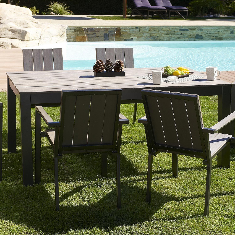 Leroy Merlin 699 Ice 180 240x100 Aluminium Brosse Imitation Bois Table Repas Decoration Exterieur Table