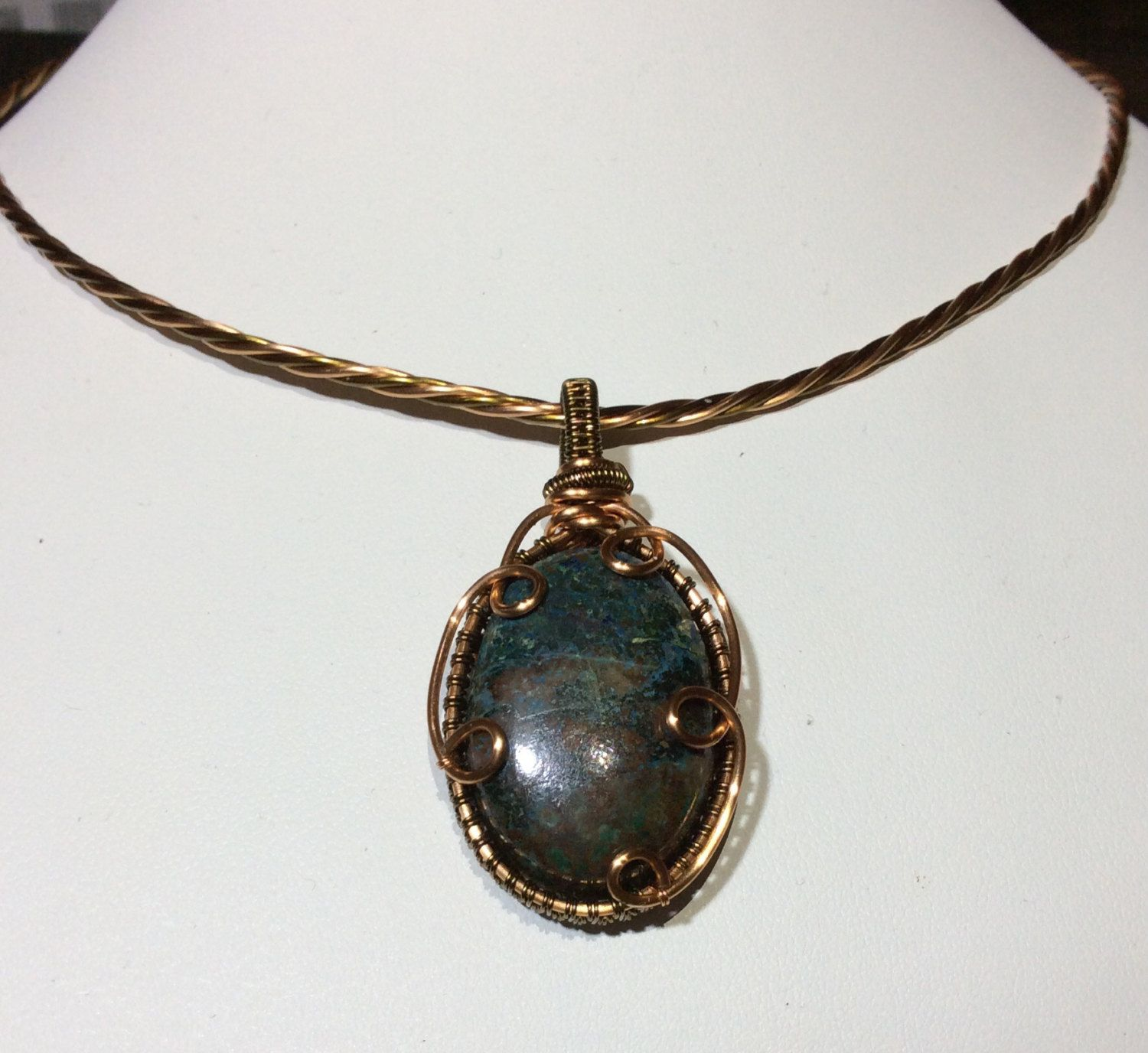 Chrysocolla copper & antique bronze oval cabochon pendant with ...