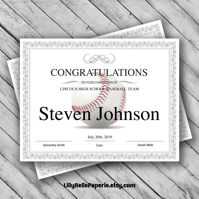 Editable Baseball Certificate Template Printable Certificate