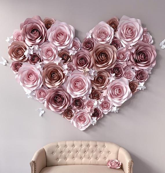 Wedding Flower Wall - Paper Flowers Wall Decoration - Paper Flowers Wedding Backdrop - Paper Flower #paperflowerswedding
