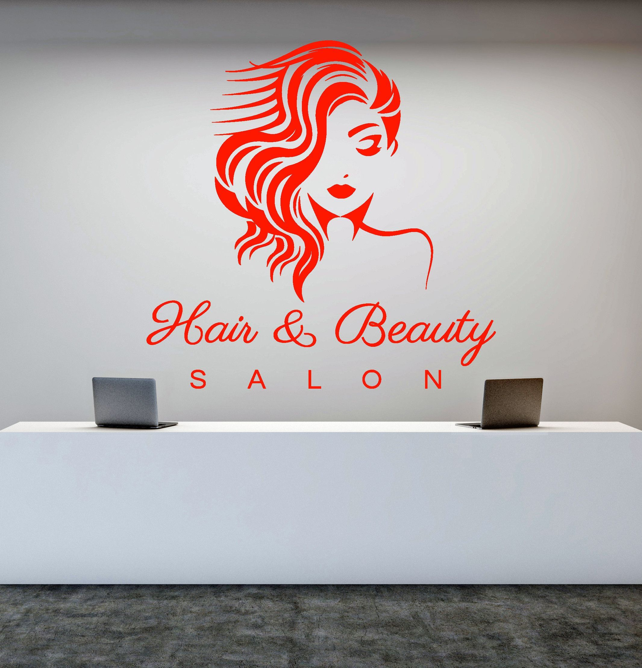 Vinyl Wall Decal Hair Beauty Salon Girl Signboard Makeup Stickers