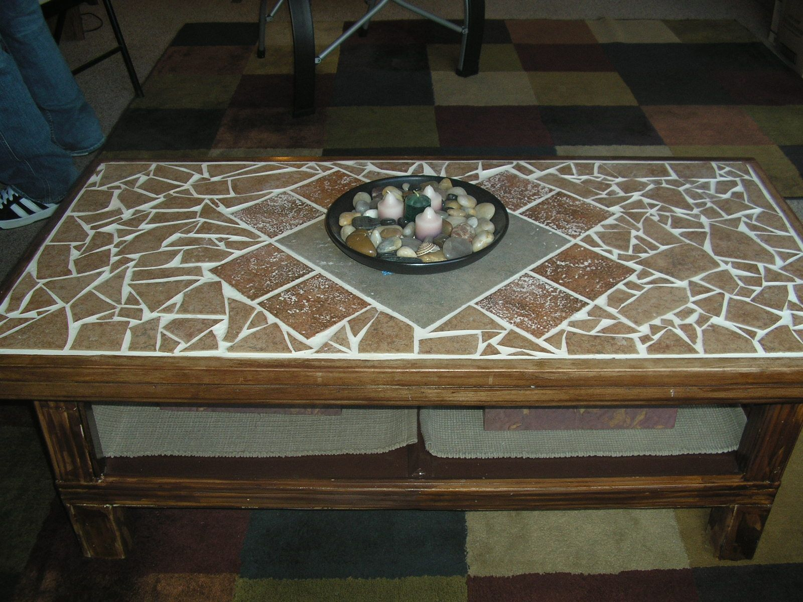 coffee table, mosaic tile coffee table, reclaimed wood coffee