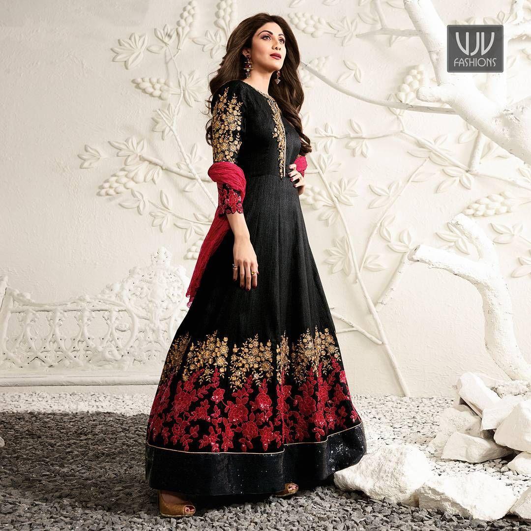 Buy now goolncegh shilpa shetty black color raw silk