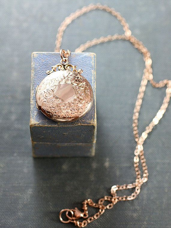 Antique Rose Gold Locket Necklace