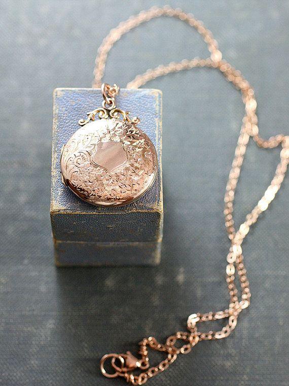 Antique Rose Gold Locket Necklace Victorian Edwardian By Tforedgar