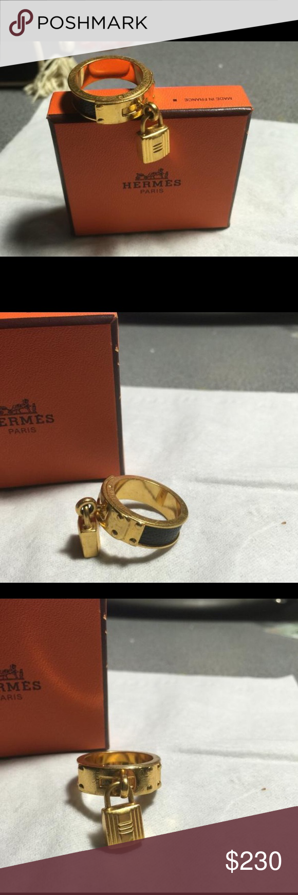 da35917266a2 ... ❗️Firm Price ❗ Timeless Classic Hermes scarf ring comes with the  box❗️you can use it ( as I did) as a ring or bracelet or even as a bag charm  ...