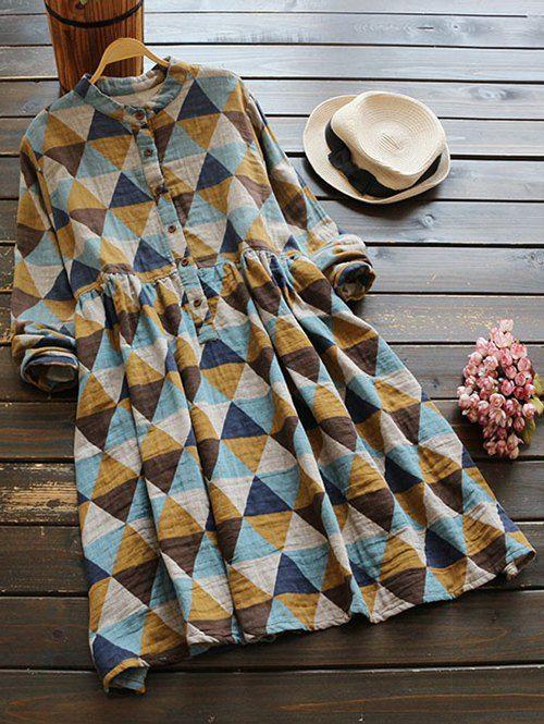 $25.99 Geometric Print Long Sleeves Shirt Dress - COLORMIX ONE SIZE