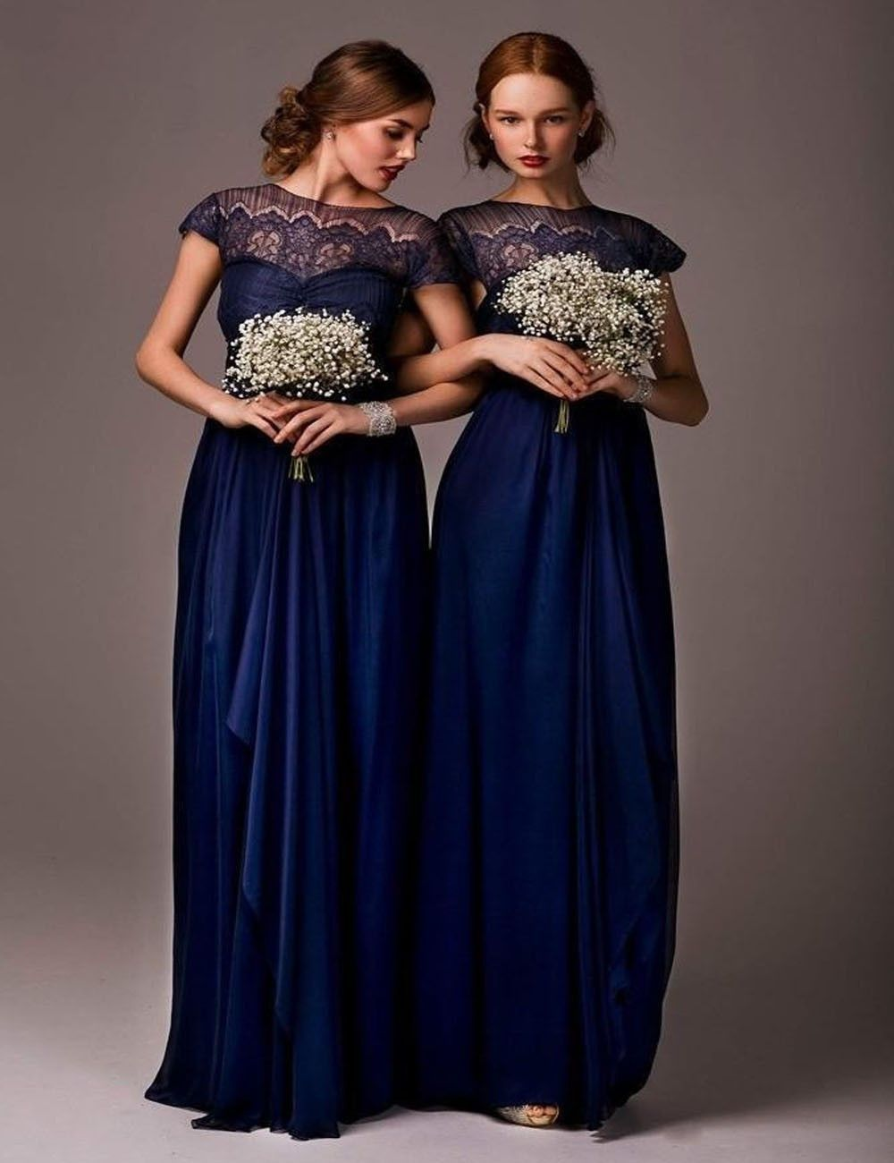 Hot sale 2017 a line high collar cap sleeves navy blue chiffon hot sale 2017 a line high collar cap sleeves navy blue chiffon long bridesmaid dresses ombrellifo Image collections