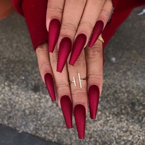 The Characteristics Of Pretty Nails Acrylic Coffin Long 103 Red Acrylic Nails Matte Nails Design Coffin Nails Matte