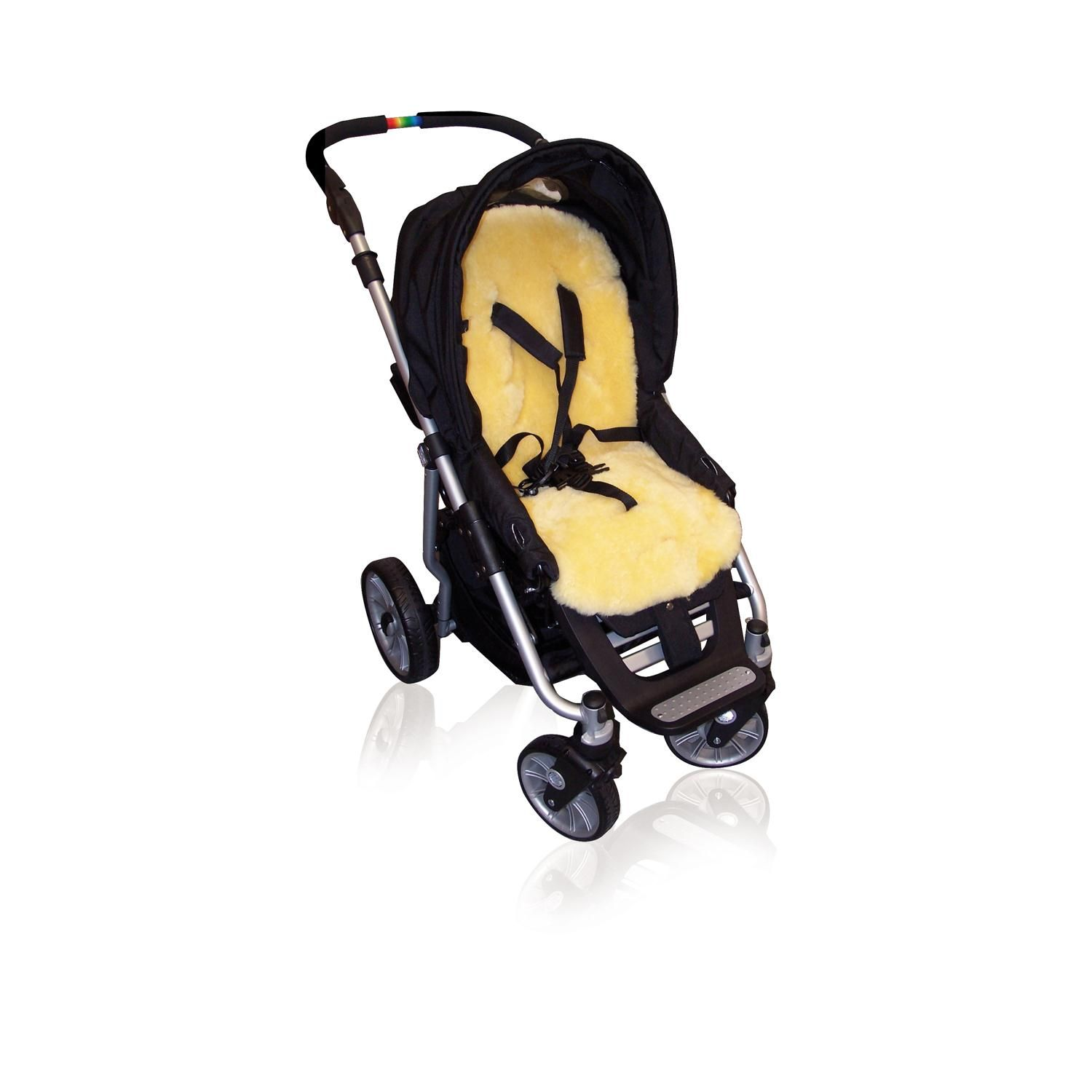Gorgeous, high quality, natural & baby safe OEKO-Tex 100 Certified sheepskin buggy liner. Can be used in strollers, pushchairs and 5-point harness car seats.
