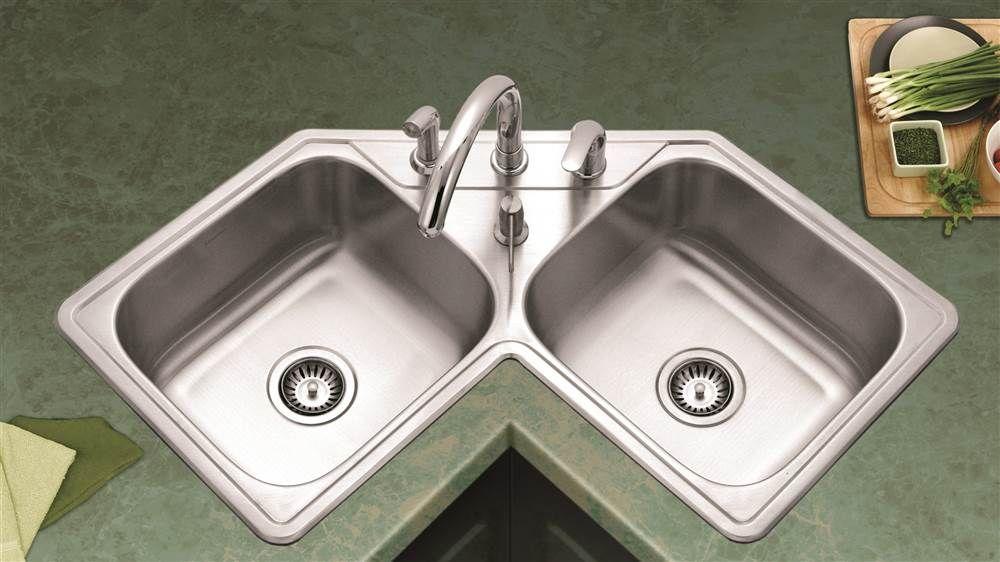 Houzer Legend Corner Double Bowl Sink Mutfak Lavabo Modelleri Mutfak Dolapları Mutfak