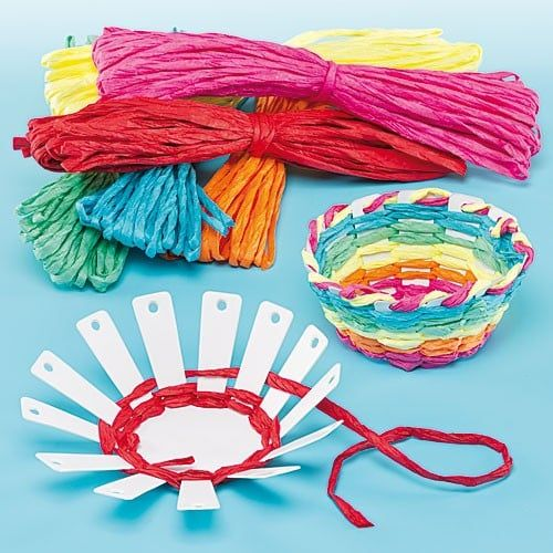 Children can learn to weave a raffia basket!#Each pack contains 4 card basket templates and 6 bundles of coloured raffia#Basket size approx. 10cm diameter#No glue required#Age 5+#Raffia colours include Red, Yellow, Orange, Green, Blue & Purple#Instructions are included