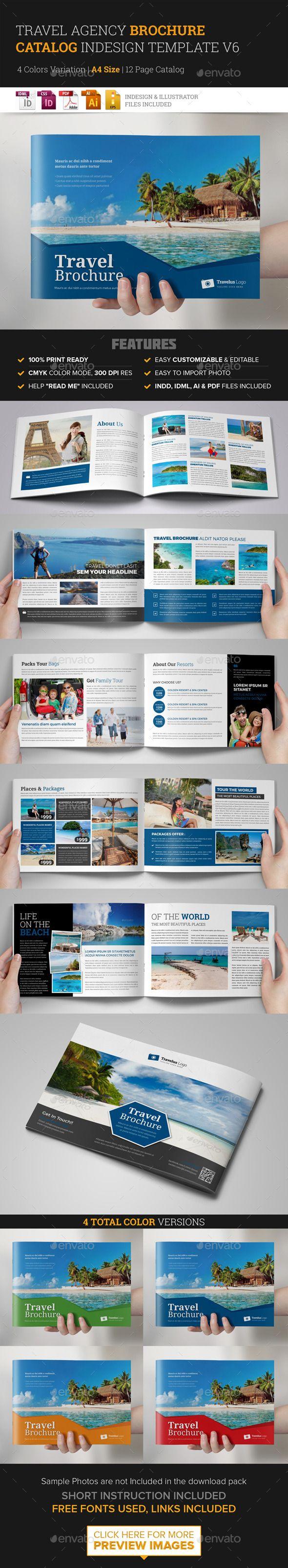 Travel Brochure Catalog InDesign Template v6 | Diseño editorial ...