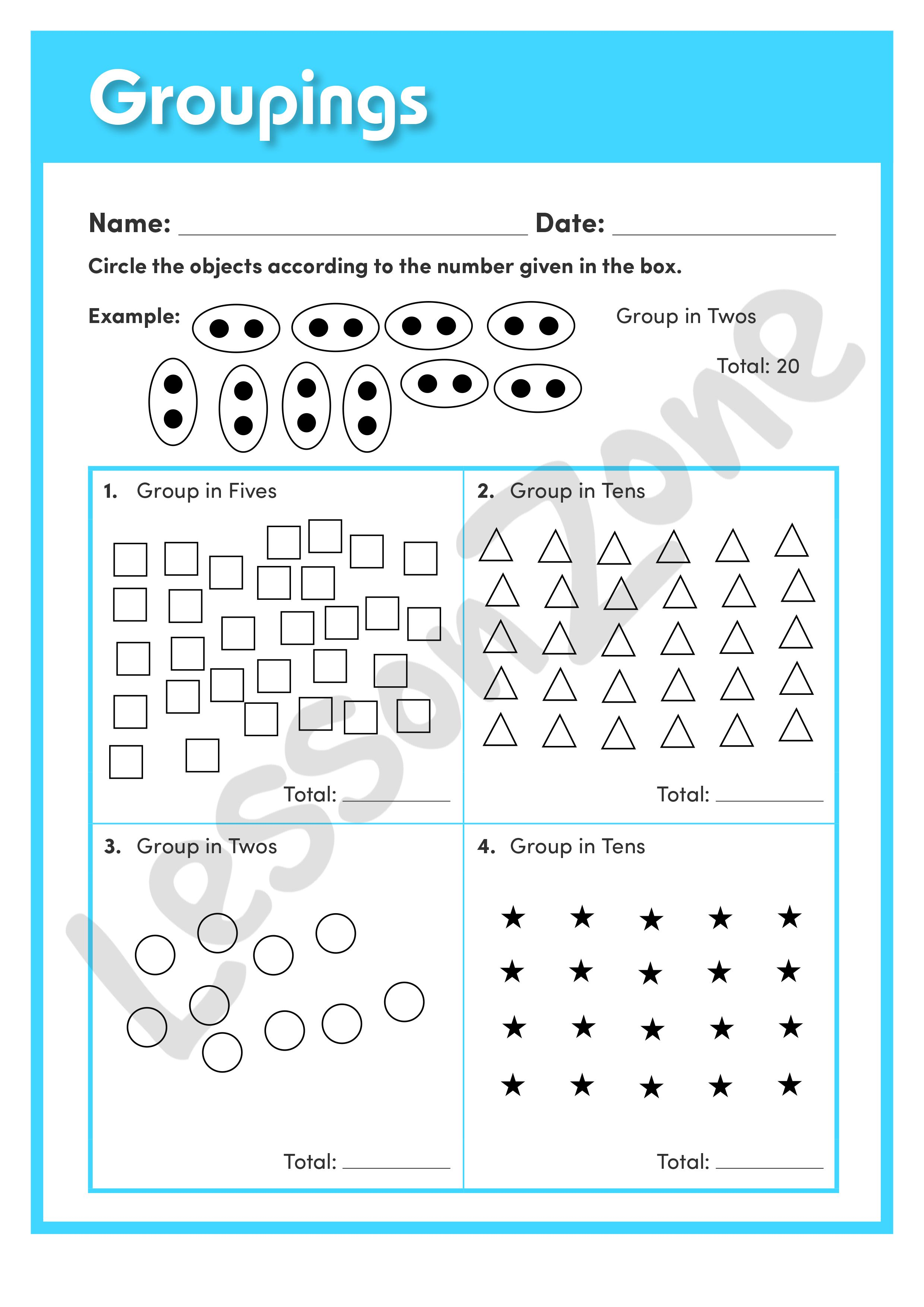 This Understanding Numbers Worksheet Groupings Asks Students To