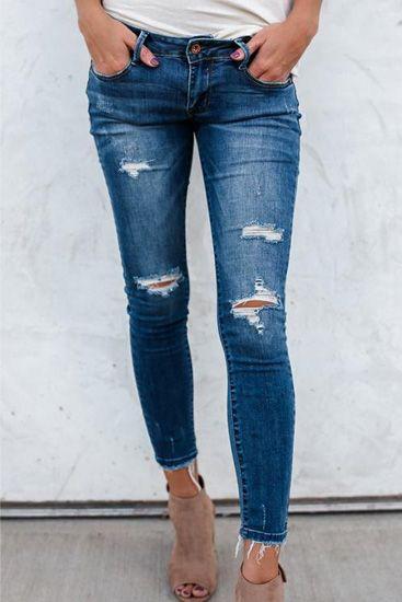 Poppoly Asher Distressed Denim Jeans | savvy style