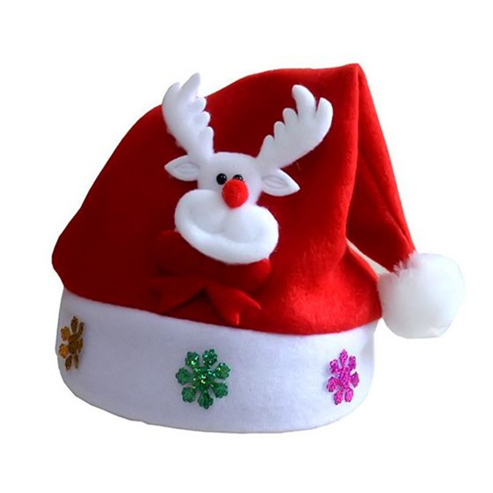 Santa Hat Black and Red Striped Plush Sz S//M Children Teens Holiday Party Cap