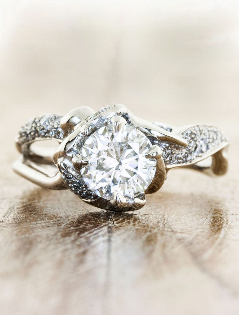nature inspired split band diamond engagement ring - Bohemian Wedding Rings