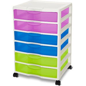 Sterilite 6 Drawer Craft Cart, Multi Color 19.97 Product In Inches (L X W X  H): 14.63 X 14.5 X 20.38