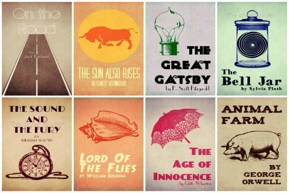 ReImagined Book Cover Series  Literary Art  Set by TheSilverSpider, $24.00