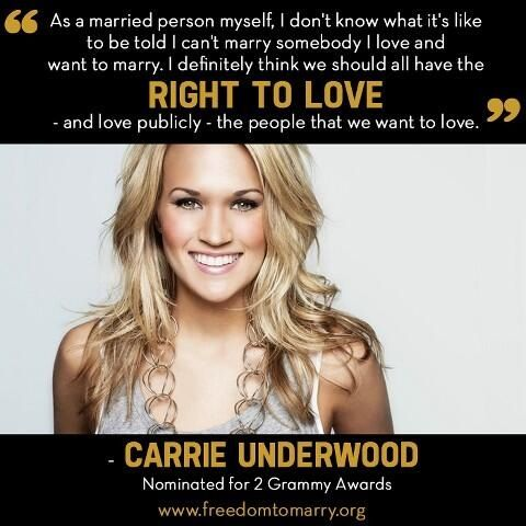 Gay Rights Quotes Carrie's Thought On Gay Marriage  3 Carrie Underwood 3 .
