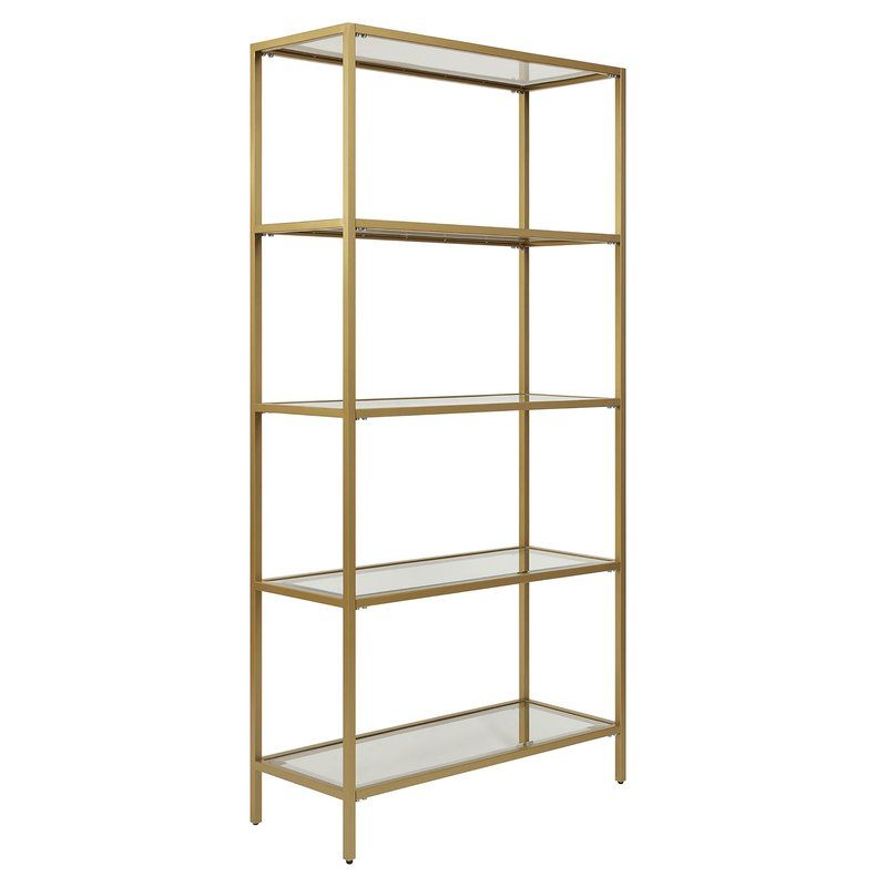 Carolina Cottage Marcello Gold Glass Shelf Bookcase Cl7234g Gld