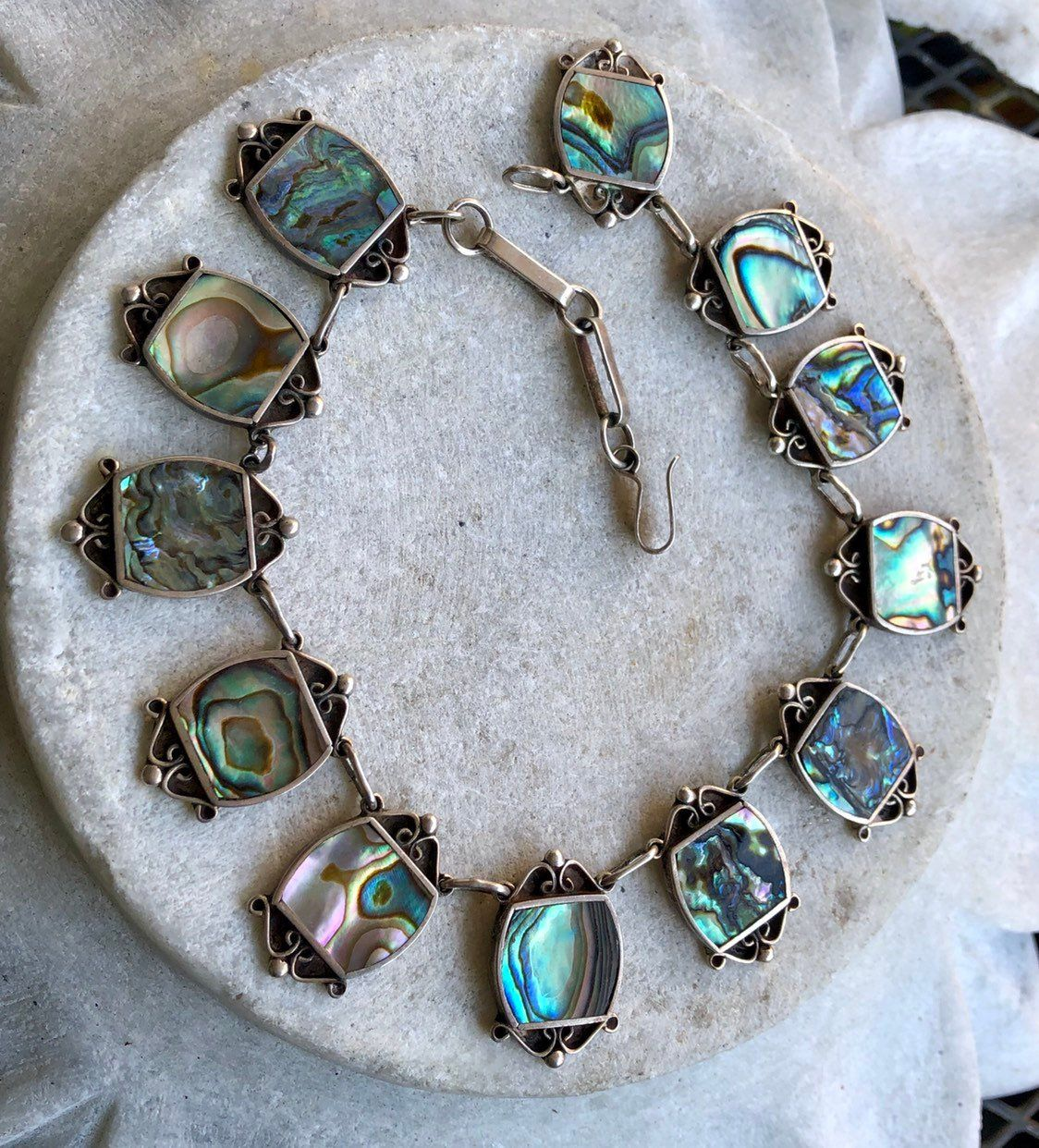 Vintage Sterling Silver Gray Abalone Shell Pendant Necklace