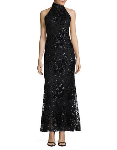 Women Evening Gowns Halter Neck Sequin Lace Gown Hudsons Bay