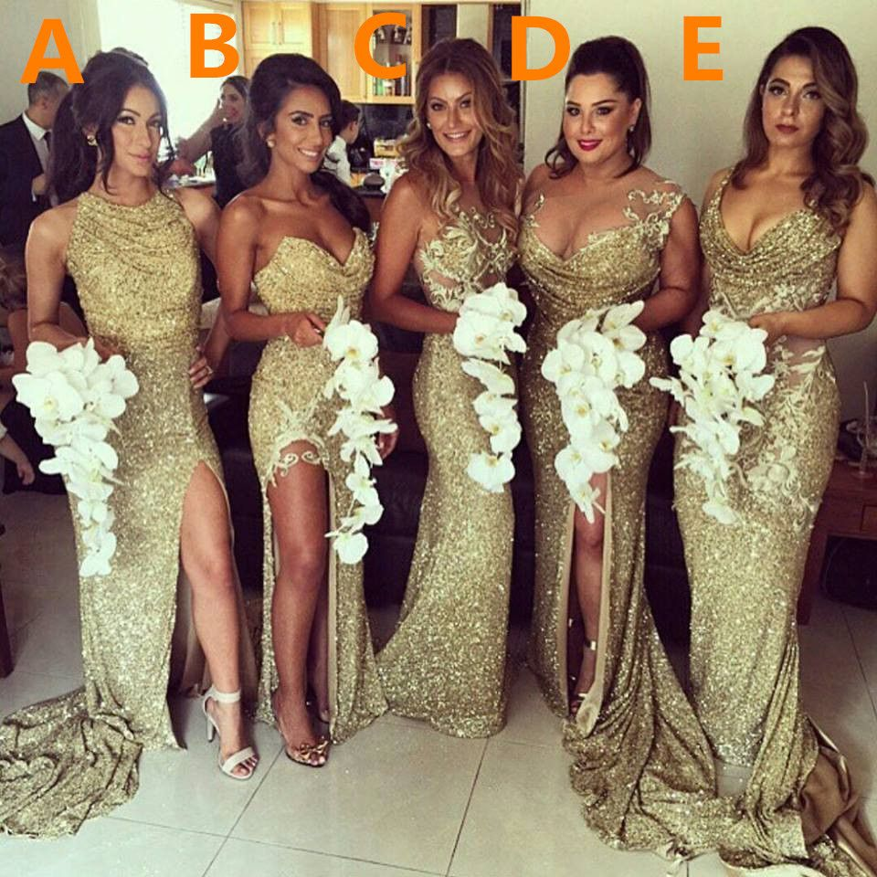 Sexy gold sequins 2017 bridesmaid dresses side slit sparkly sexy gold sequins 2017 bridesmaid dresses side slit sparkly wedding party dress ombrellifo Choice Image
