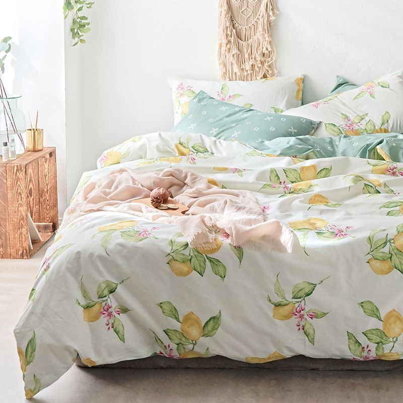 Pure Cotton Bedding Sets Bedclothes Lemon Printed Duvet Cover Modern Bedding Sets Sheets Pillowcases Queen Bed Queen Bed Sheets Modern Bed Set Bed Sheet Sets