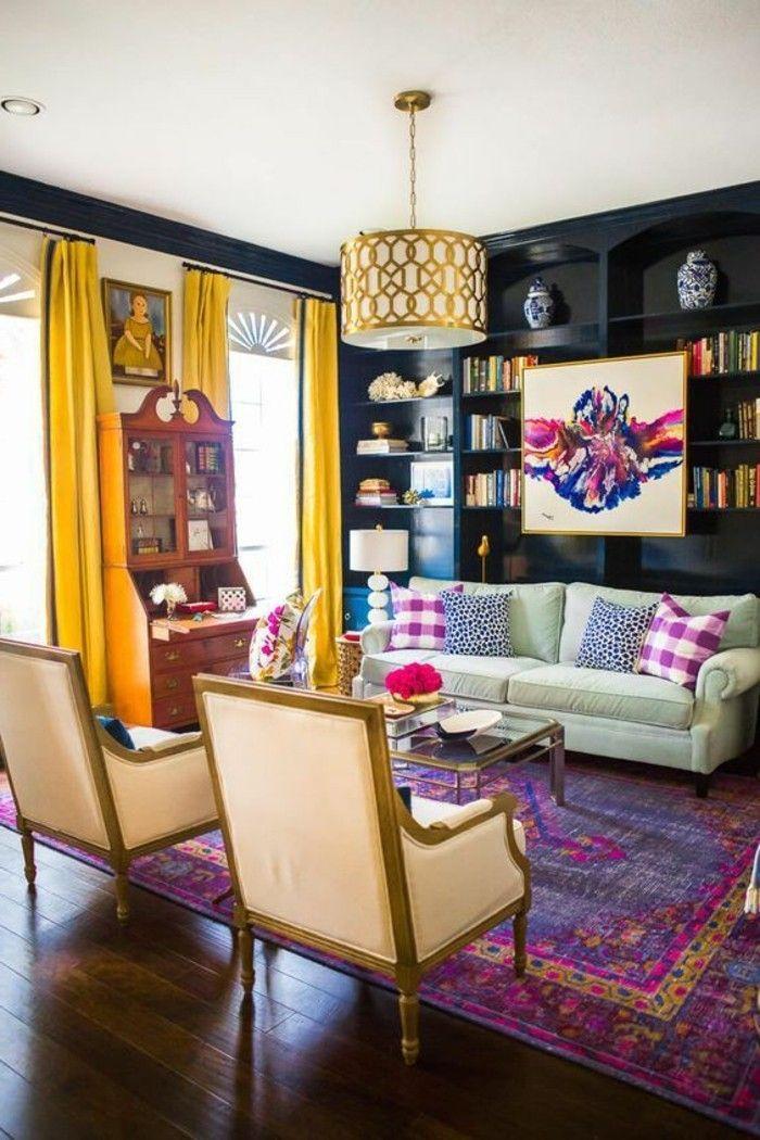 Decorar salon tonos vivos alfombra violeta dise o de - Ver decoracion de salones ...