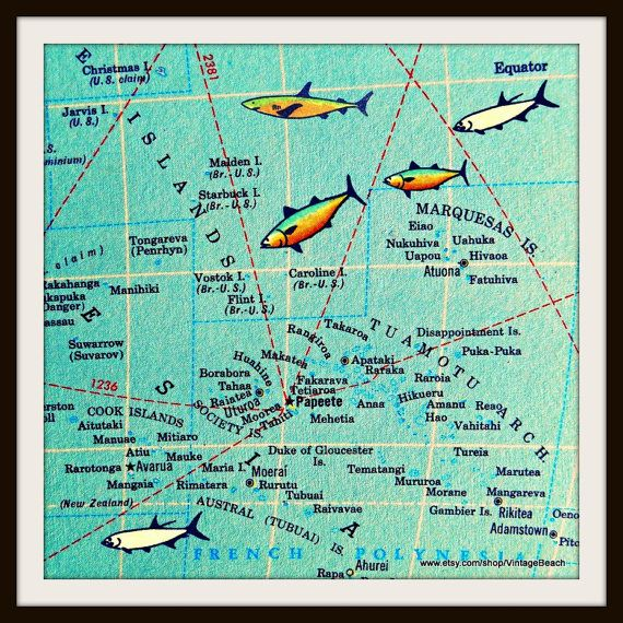 BORA BORA map art print French Polynesia Tahiti Islands aqua color
