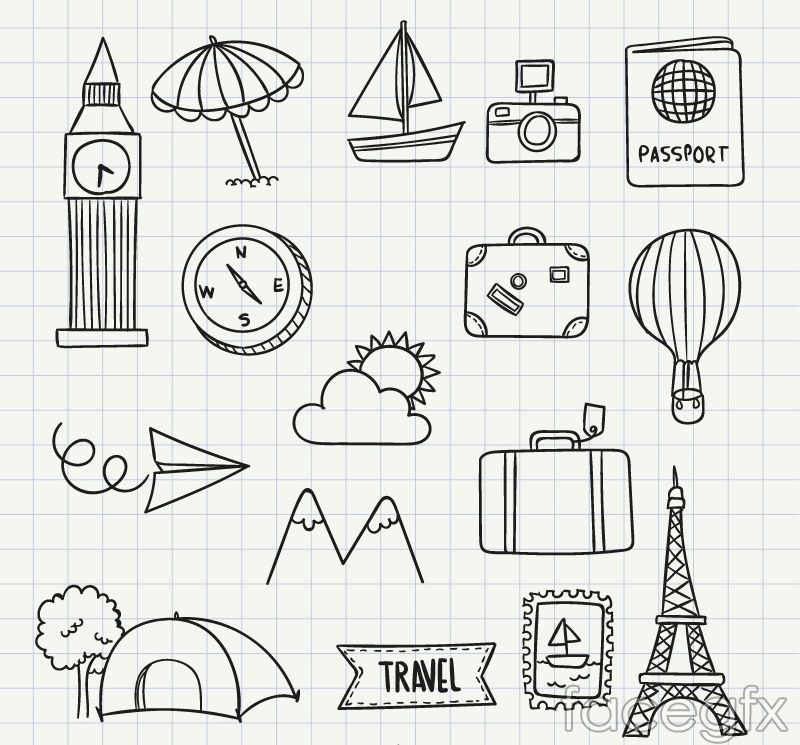 16 Travel Hand Painted Icon Vector Doodles Ideias Do Doodle E