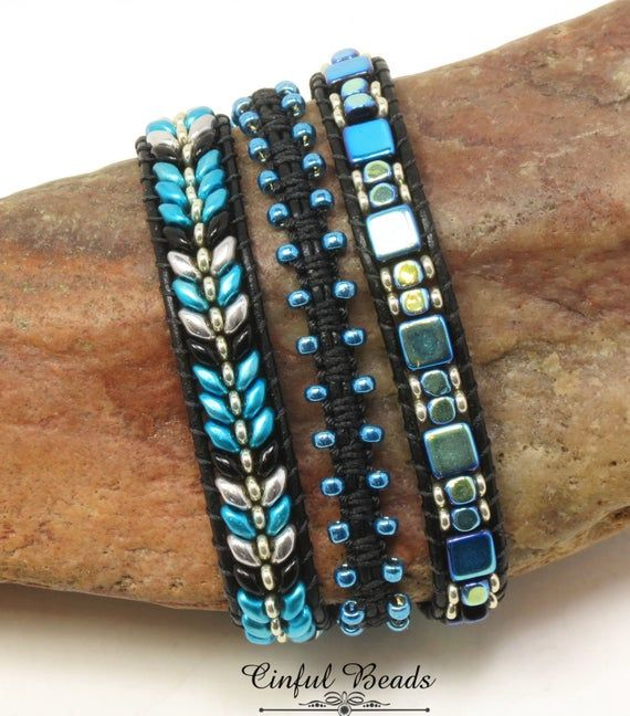 Photo of Beaded and Macrame Leather Wrap Bracelet-Boho Leather Wrap-Triple Leather Wrap Bracelet-Metalust Turquoise and Black Leather Wrap-(TW46)