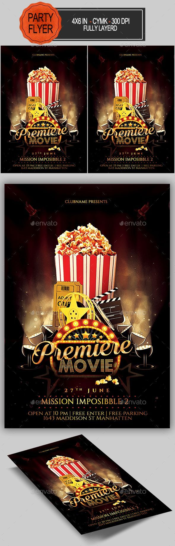 Movie Flyer. Customizable professional template for a flyer.