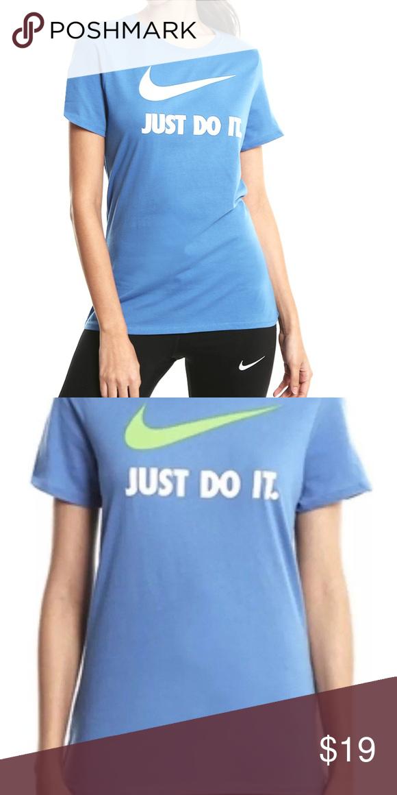 c78b5c20 Nike Women's Crew Just Do It Swoosh T-Shirt Blue X Nike Women's Crew ...