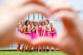 bridesmaids with the brides hand :) lets be honest the bride would not make it to her wedding without  her girls by her side!