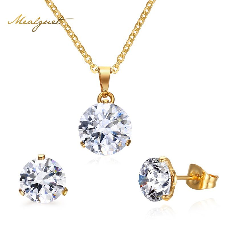 Women/'s Engagement Wedding Jewelry Stainless Steel Round Shape Jewelry Sets