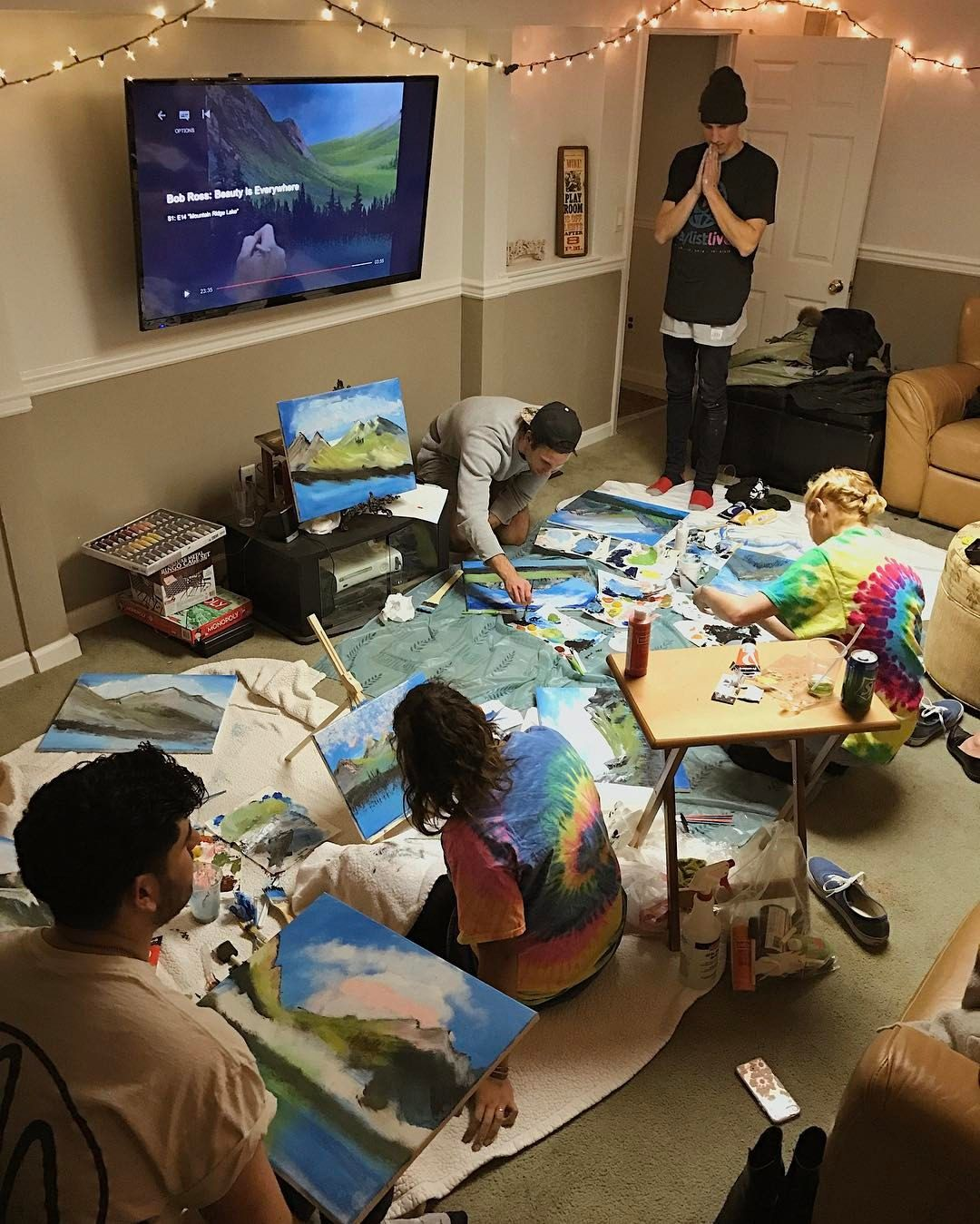 See This Instagram Photo By Brovegna 2 267 Likes Had A Bob Ross Painting Party For The Birthday Best Day Ev Bob Ross Birthday Bob Ross Paintings Bob Ross