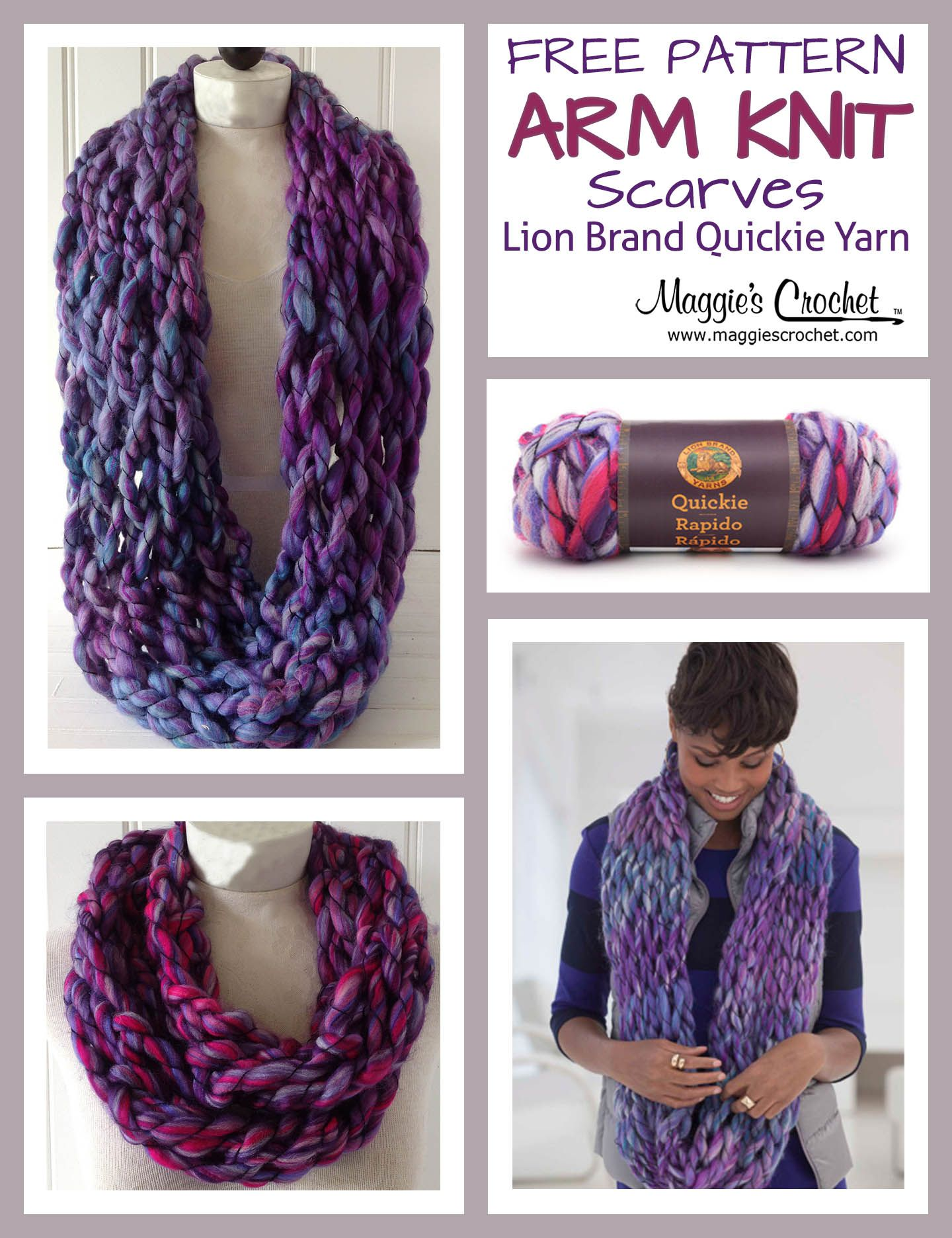 Arm Knit Scarf with Lion Brand Quickie Yarn | CROCHET FREE PATTERNS ...