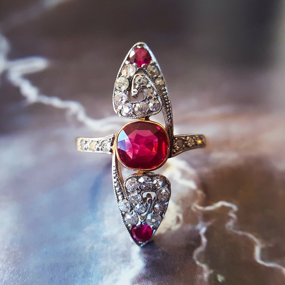 Ruby engagement ring vintage ruby ring art deco engagement ring