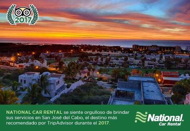 """National Car Rental México felicita a #SanJosédelCabo por ser nombrado por #TripAdvisor como  el destino número 1 en su categoría mundial del conteo """"Destinations on the Rise""""  que enlista los destinos a visitar durante el año 2017.  Les dejamos la liga con toda la información: https://www.tripadvisor.com/TravelersChoice-DestinationsontheRise-cTop10-g1  #NosotrosteLlevamos"""