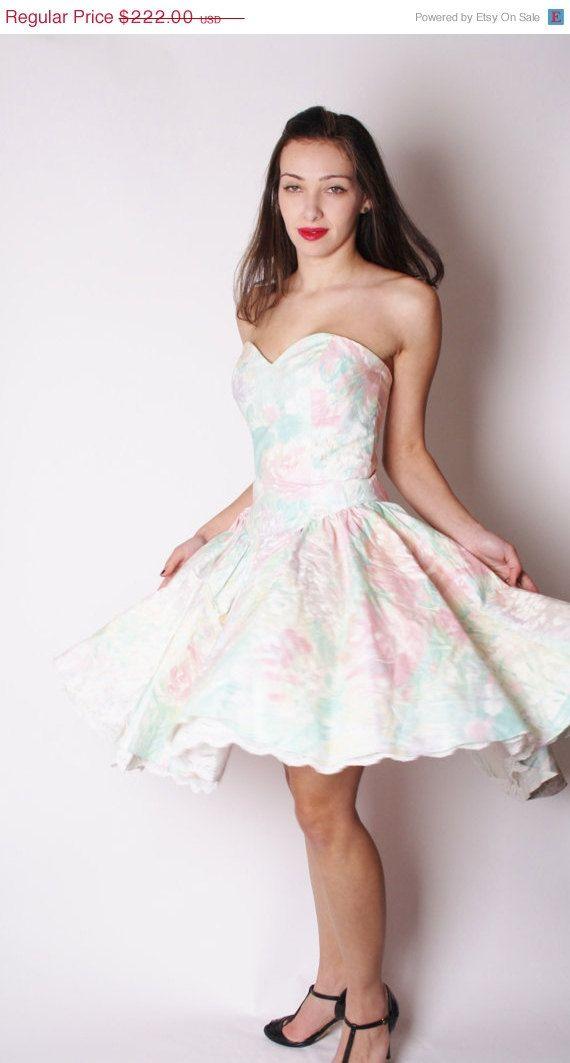 Strapless Pastel Sweetheart Neckline White Floral Vintage Prom Dress ...