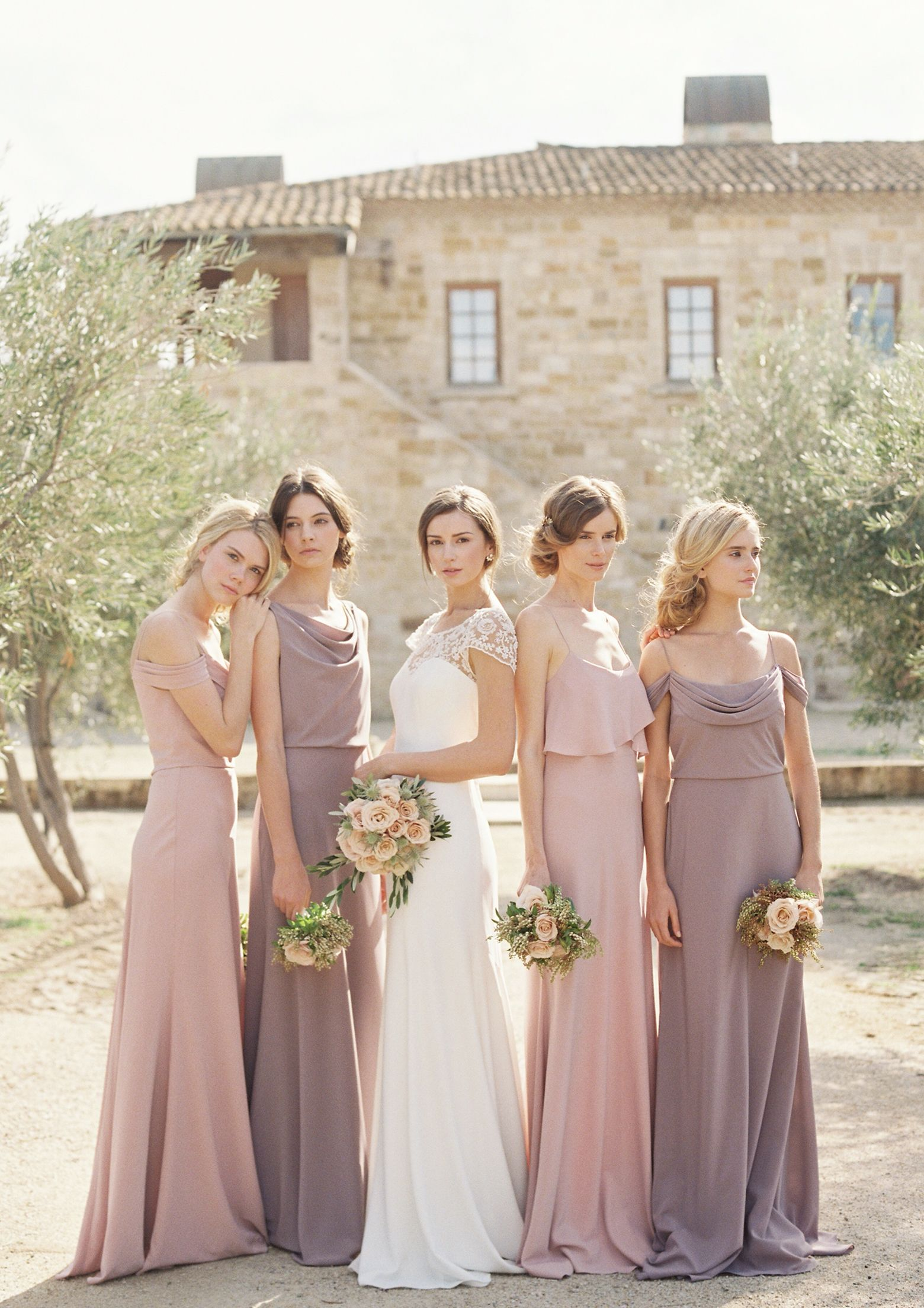 Mix of crepe de chine bridesmaid dresses hayden wedding dress by