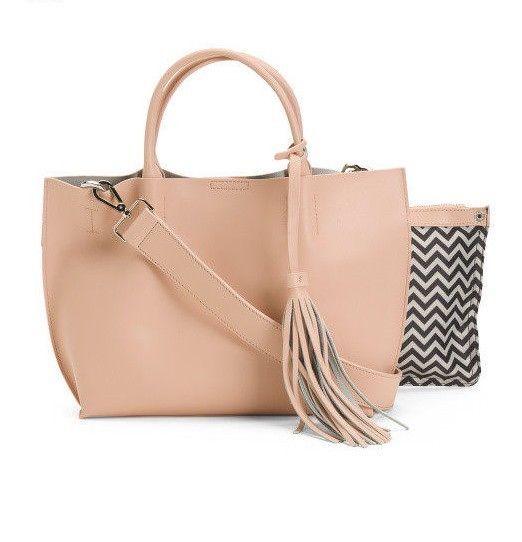 Co Lab Colab Christopher Kon Tote Bag Leather Handbag Tassel Petal Pink Nwt