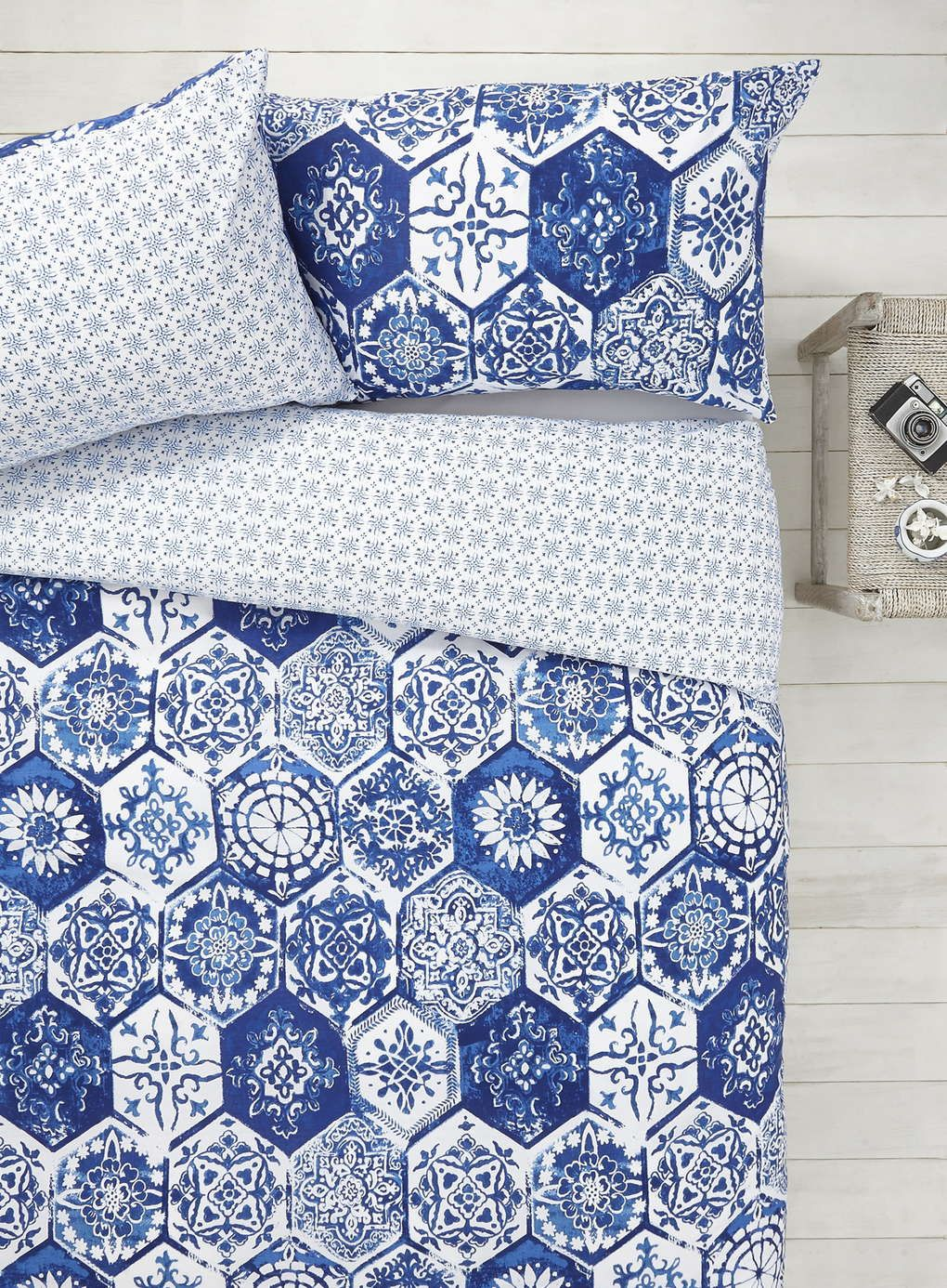 Blue and white bedding - Blue White Mosaic Tile Bedding Bhs 19 99