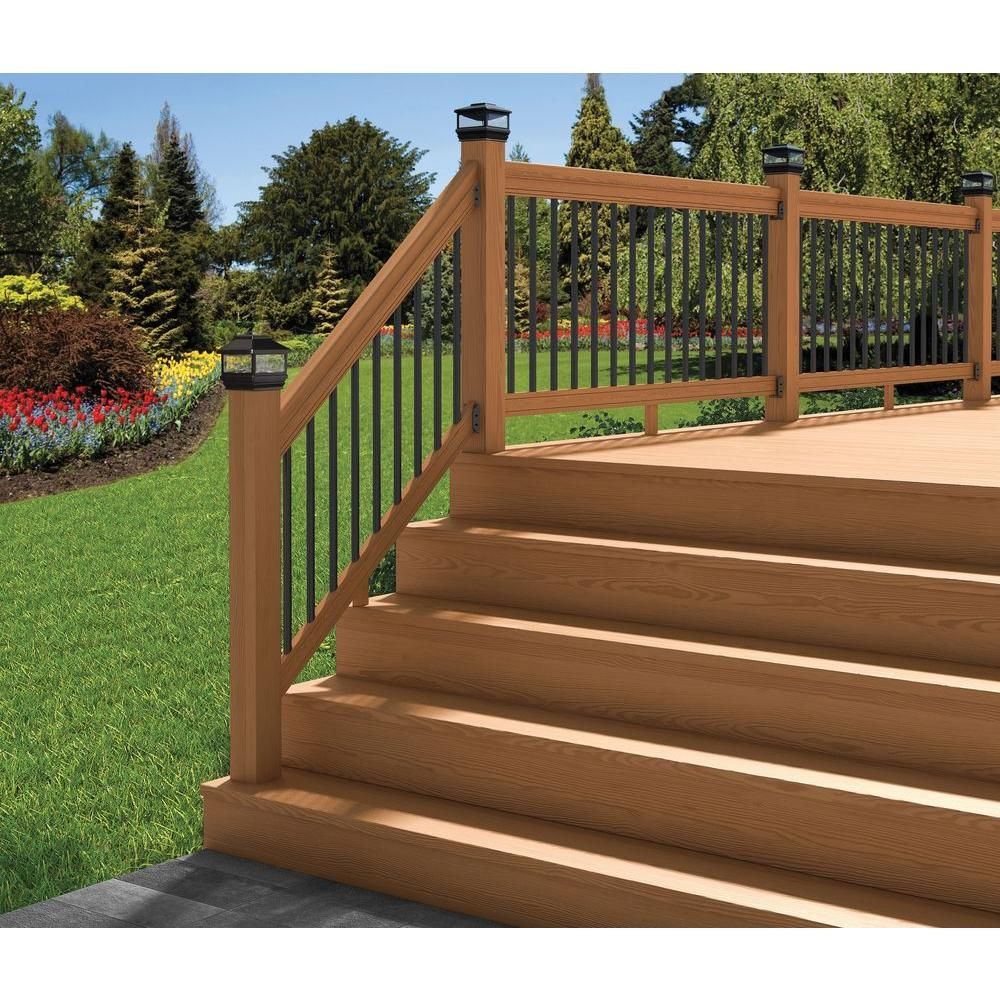 Best Deckorail Pressure Treated 6 Ft Cedar Tone Stair Deck Railing Kit With Black Aluminum Balusters 400 x 300